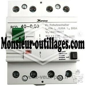 Interrupteur différentiel Kopp 4 modules 4 pôles 40/0,03MONSIEUR-OUTILLAGES.COM ,