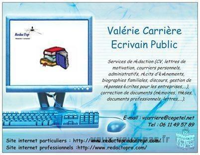 Valérie CARRIERE, écrivain public pour particuliers/étudiants et entreprises