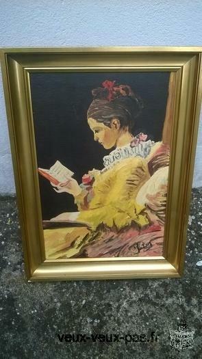 Peinture huile LA LISEUSE de FRAGONARD