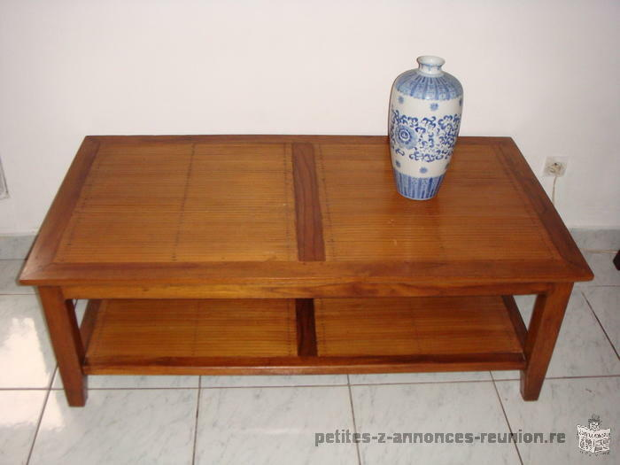 Table basse rectangle en teck et bambou