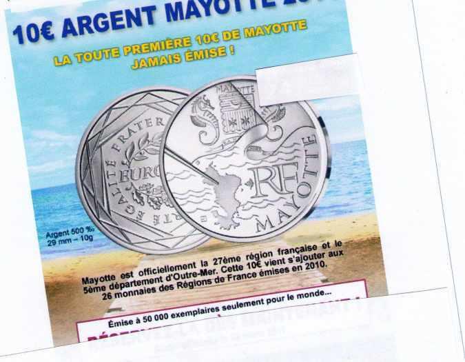 chercher personne pour acheter pièces de 10 euros région Mayotte